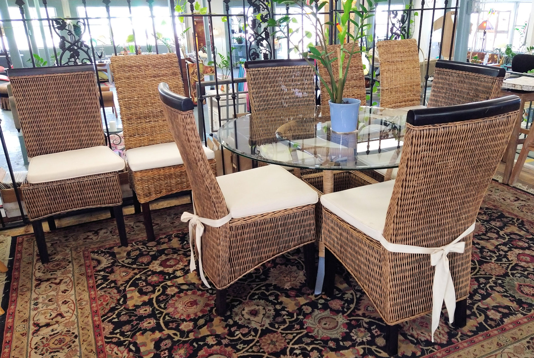 DR0089-Wicker-glasstop-table-4chairs