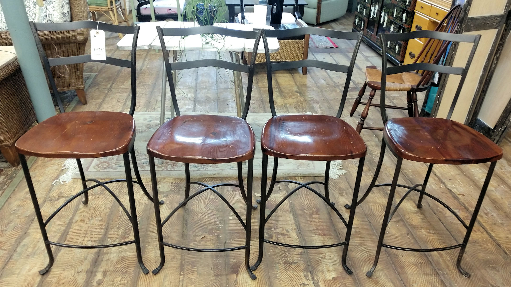 KT0027-Wrought-Iron-4-Bar-Stools-wood-seat1