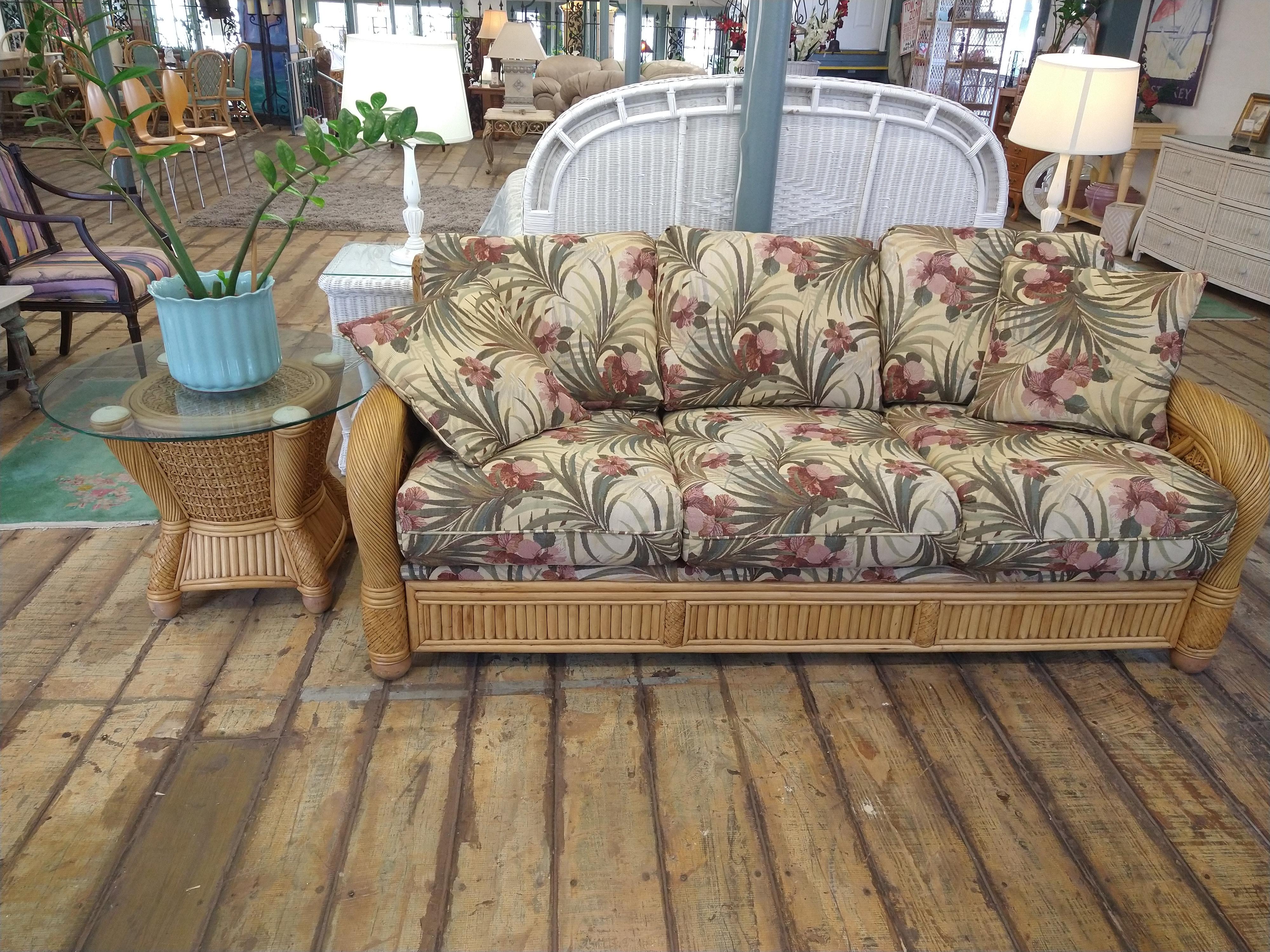 LR0350-Rattan-floral-sofa