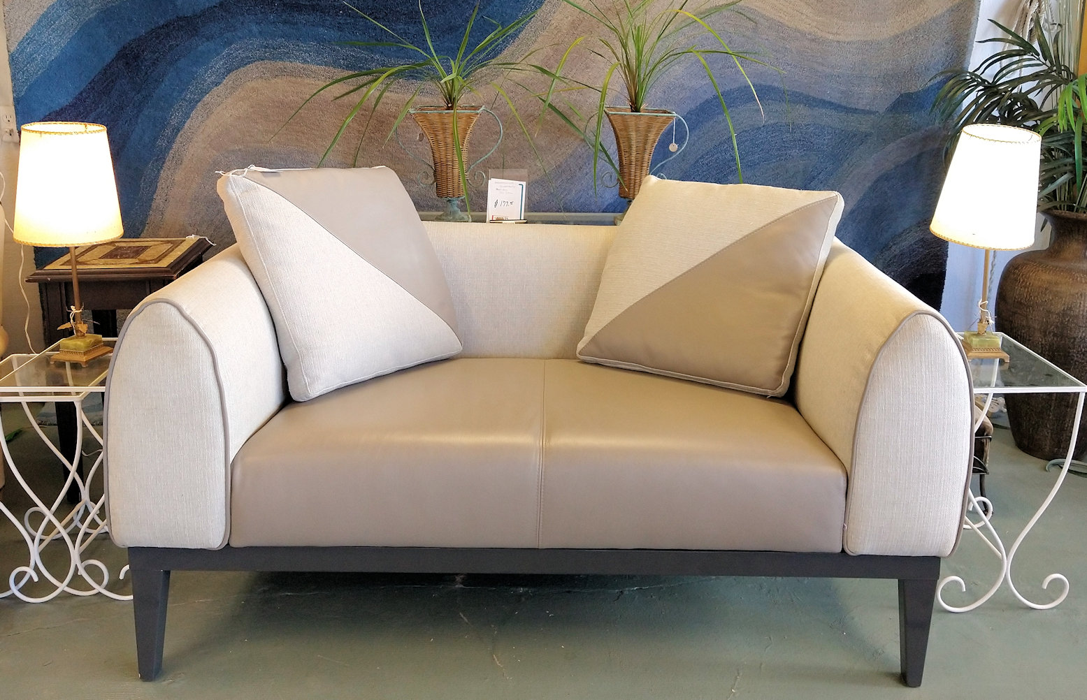 LR0357-Leather-and-material-loveseat