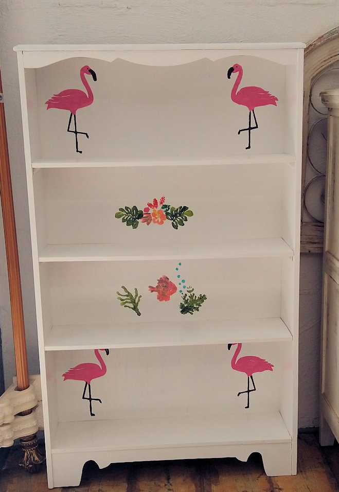 LR0367-Shelf-Flamingos-flowers